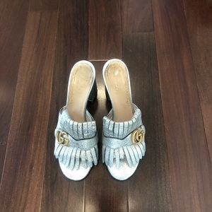 Silver Metallic Leather Marmont Fringe Mules